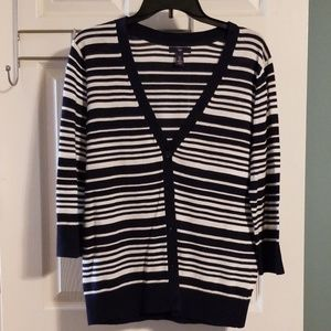 Gap navy and white stripe cardigan